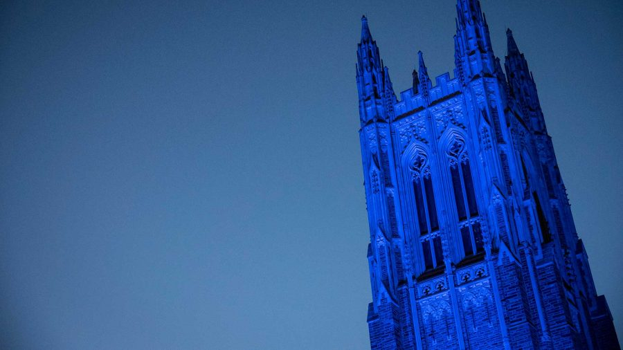 The Duke Chapel, bathed in blue light.