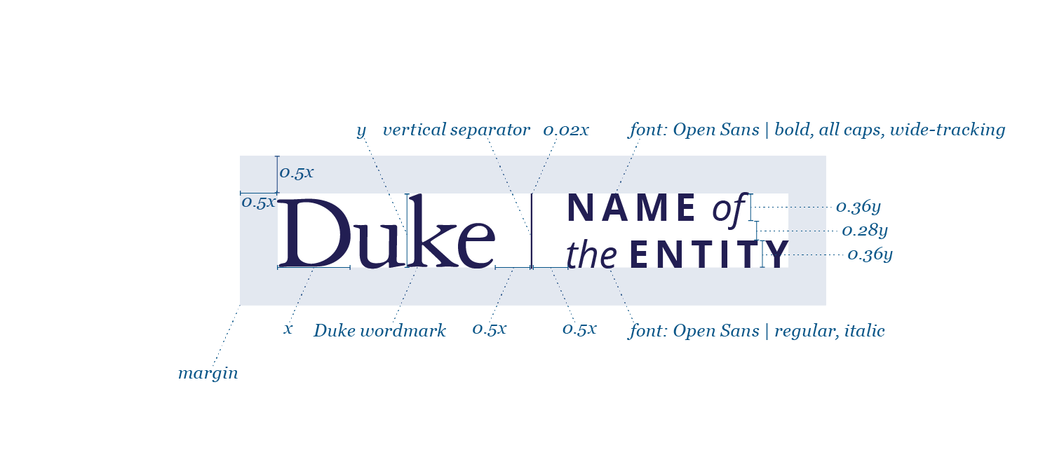 A diagram illustrating how to compose a horizontal co-branded Duke entity logo.