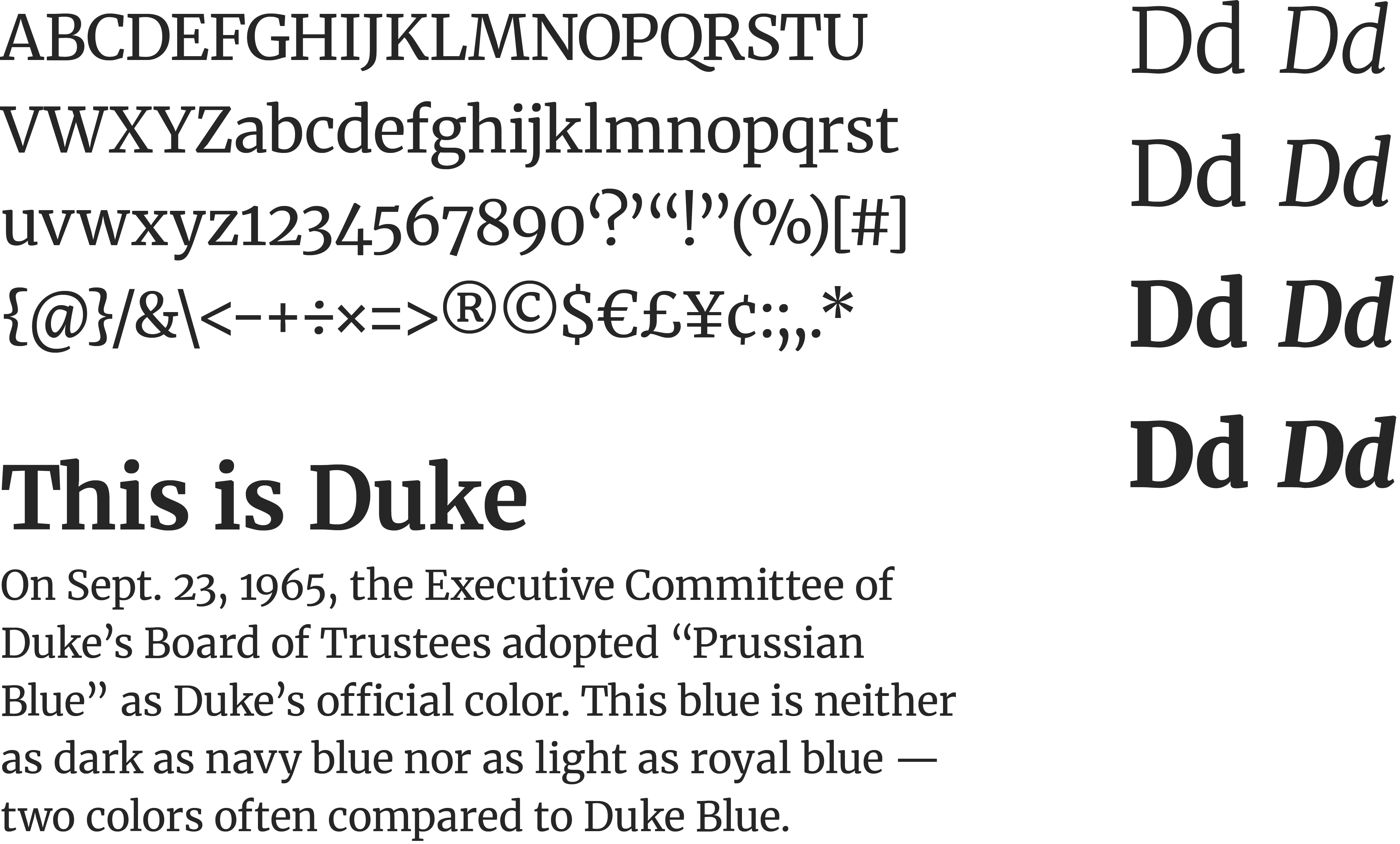 A specimen of the Merriweather, a contemporary serif typeface. Included are a list of English characters, the font weights & styles and a sample paragraph of text rendered in the typeface.