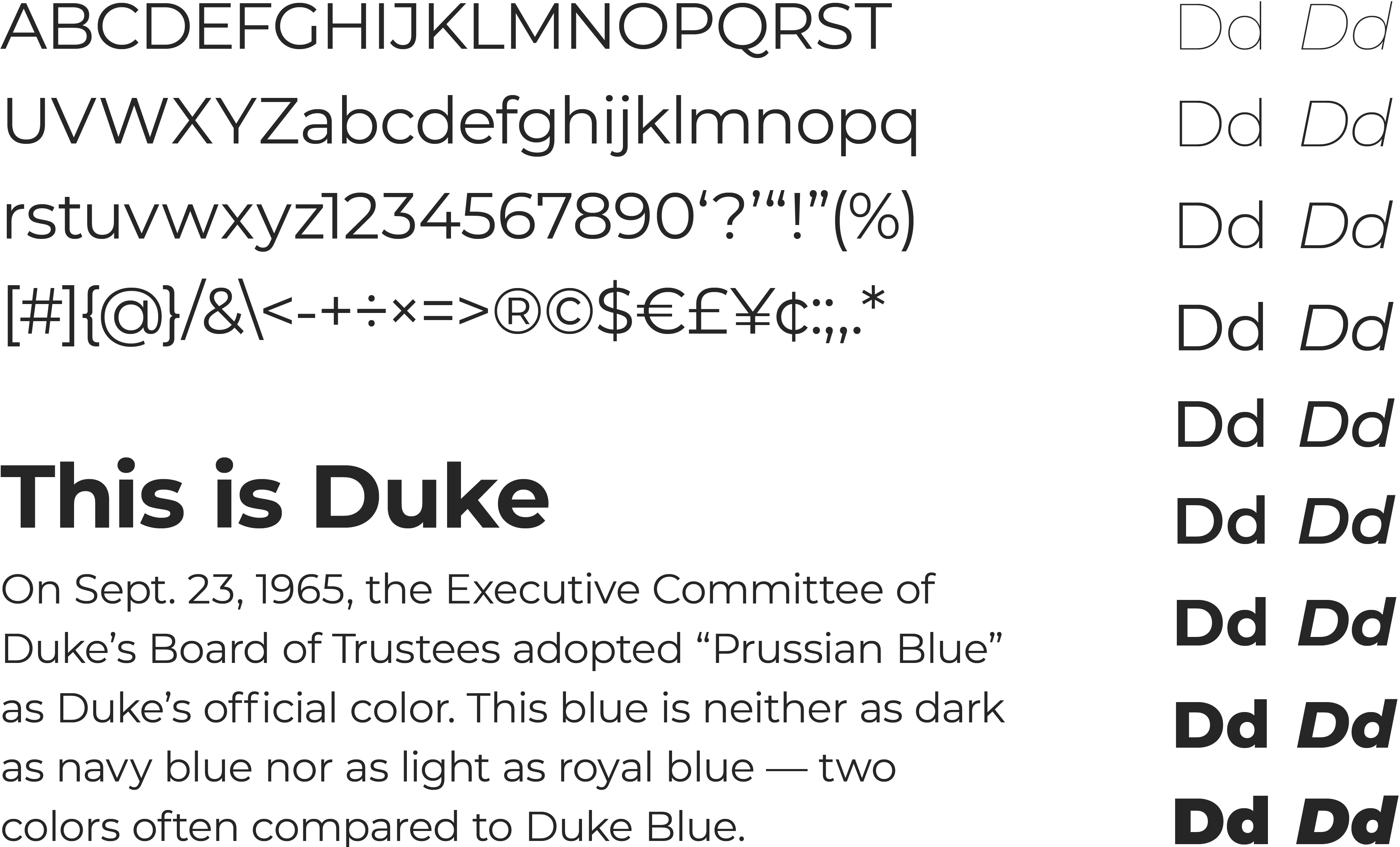 A specimen of the Montserrat, a sans-serif typeface. Included are a list of English characters, the font weights & styles and a sample paragraph of text rendered in the typeface.
