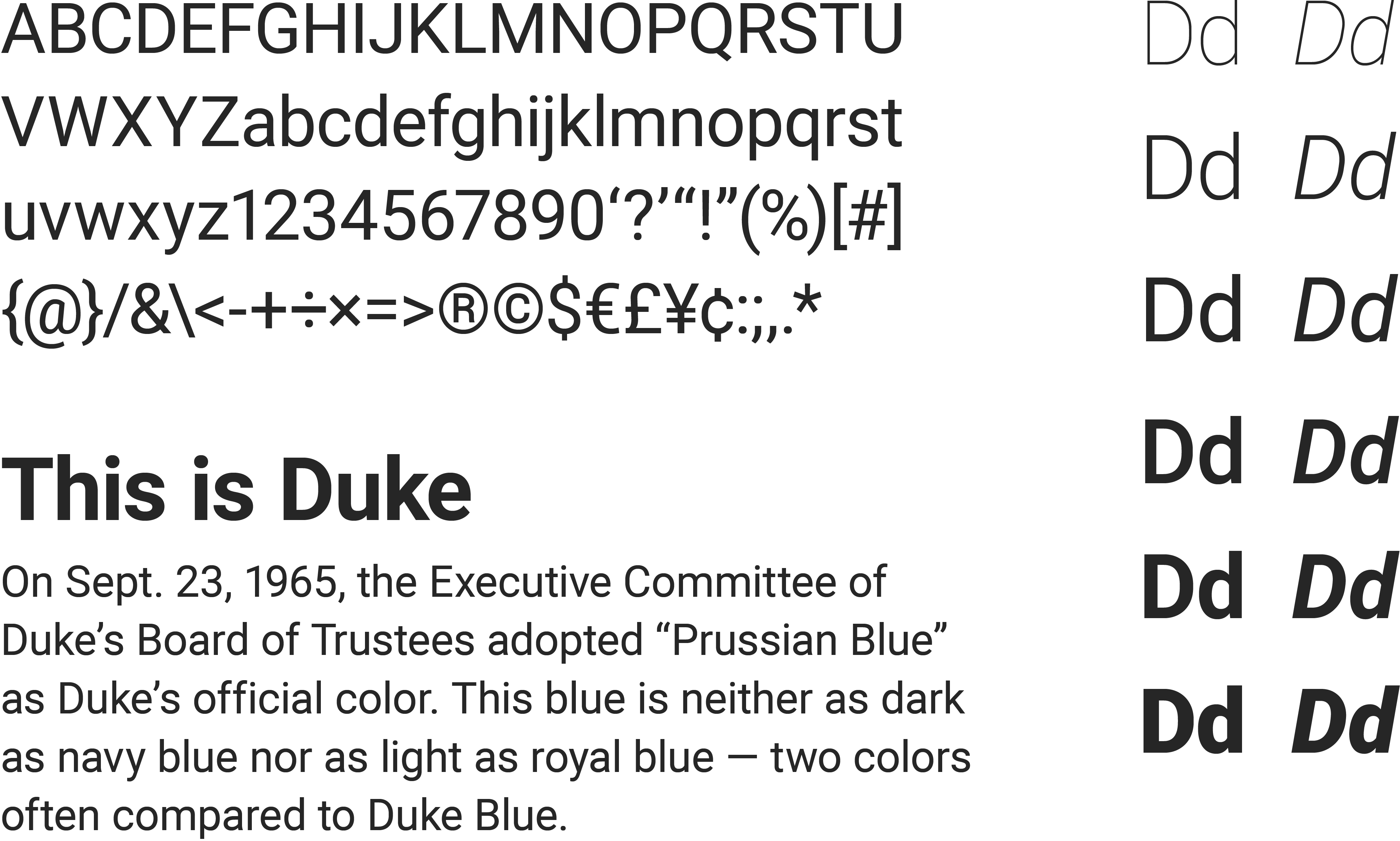 A specimen of the Roboto, a sans-serif typeface. Included are a list of English characters, the font weights & styles and a sample paragraph of text rendered in the typeface.