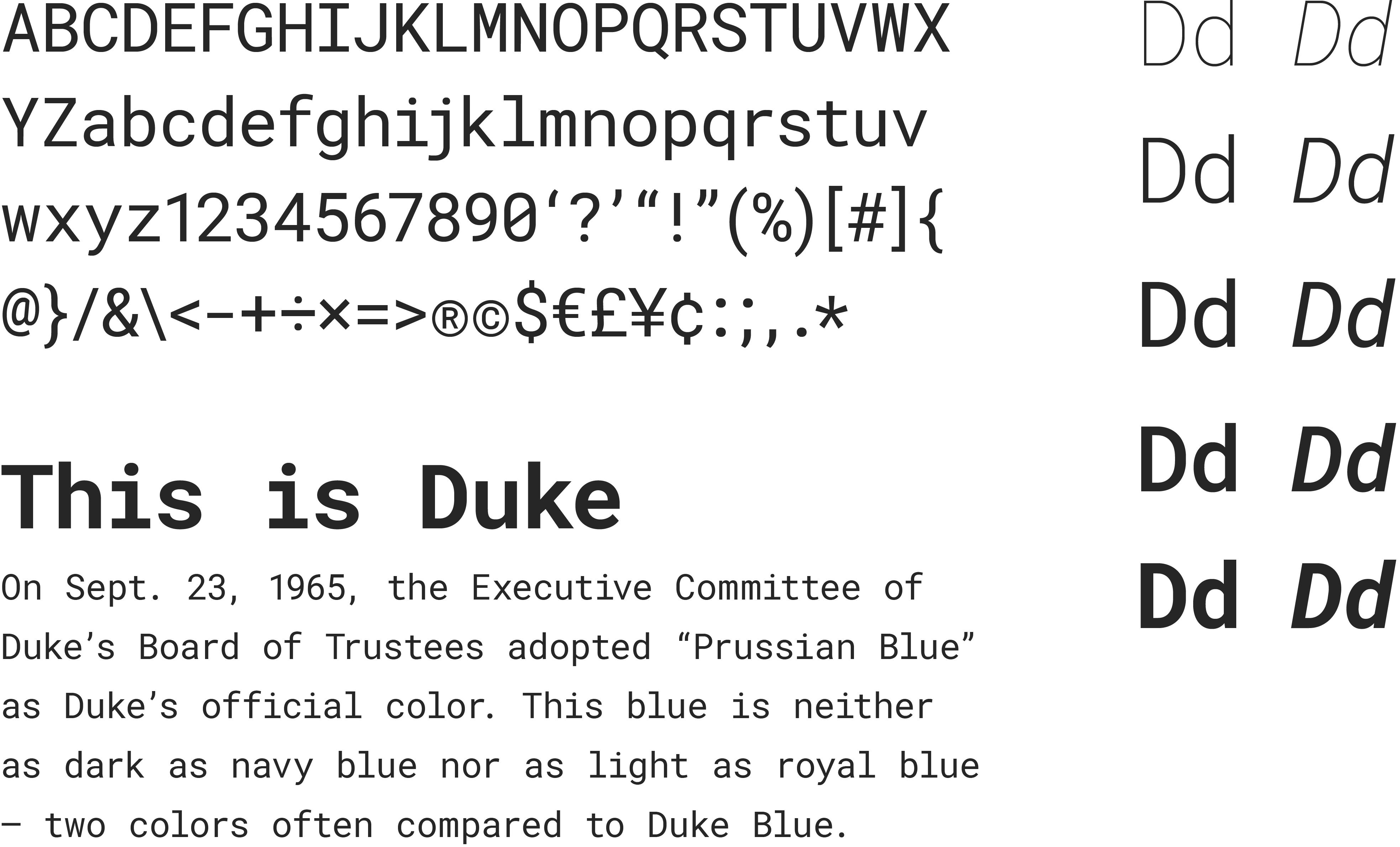 A specimen of the Roboto Mono, a monospaced typeface. Included are a list of English characters, the font weights & styles and a sample paragraph of text rendered in the typeface.