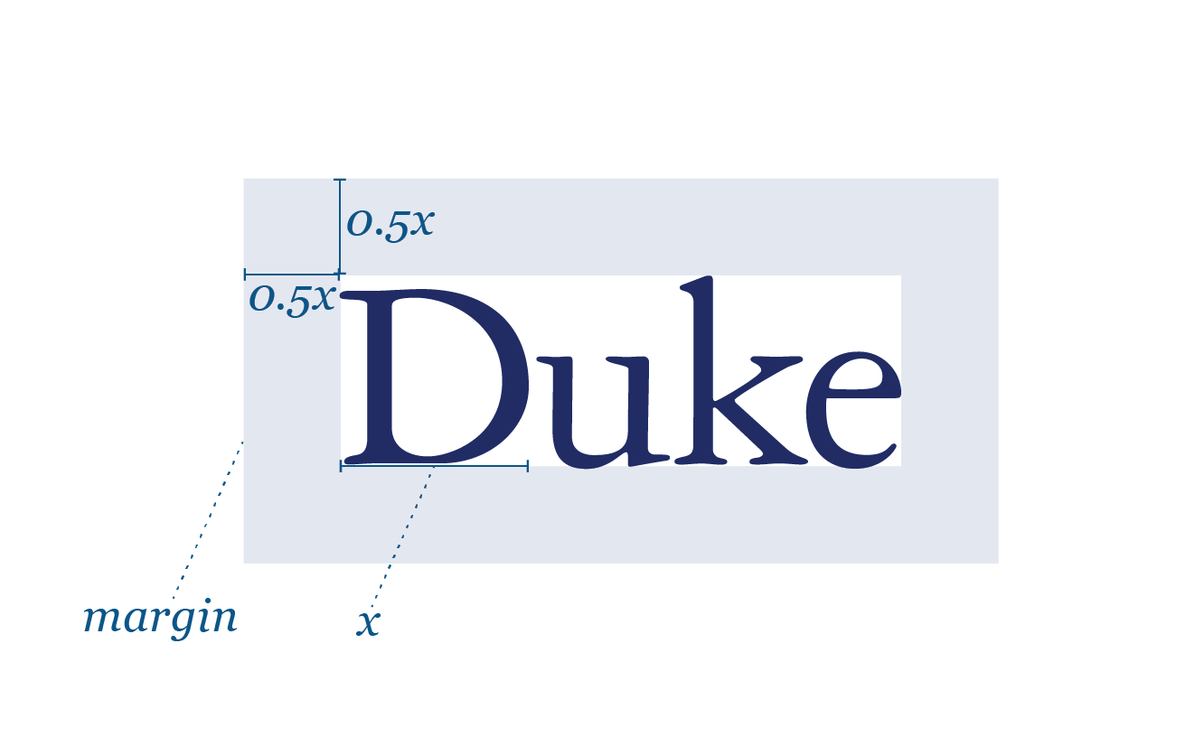 the Duke wordmark with a proportional margin