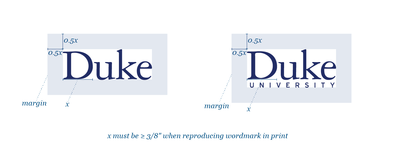 Two versions of the Duke wordmark with proportional margins